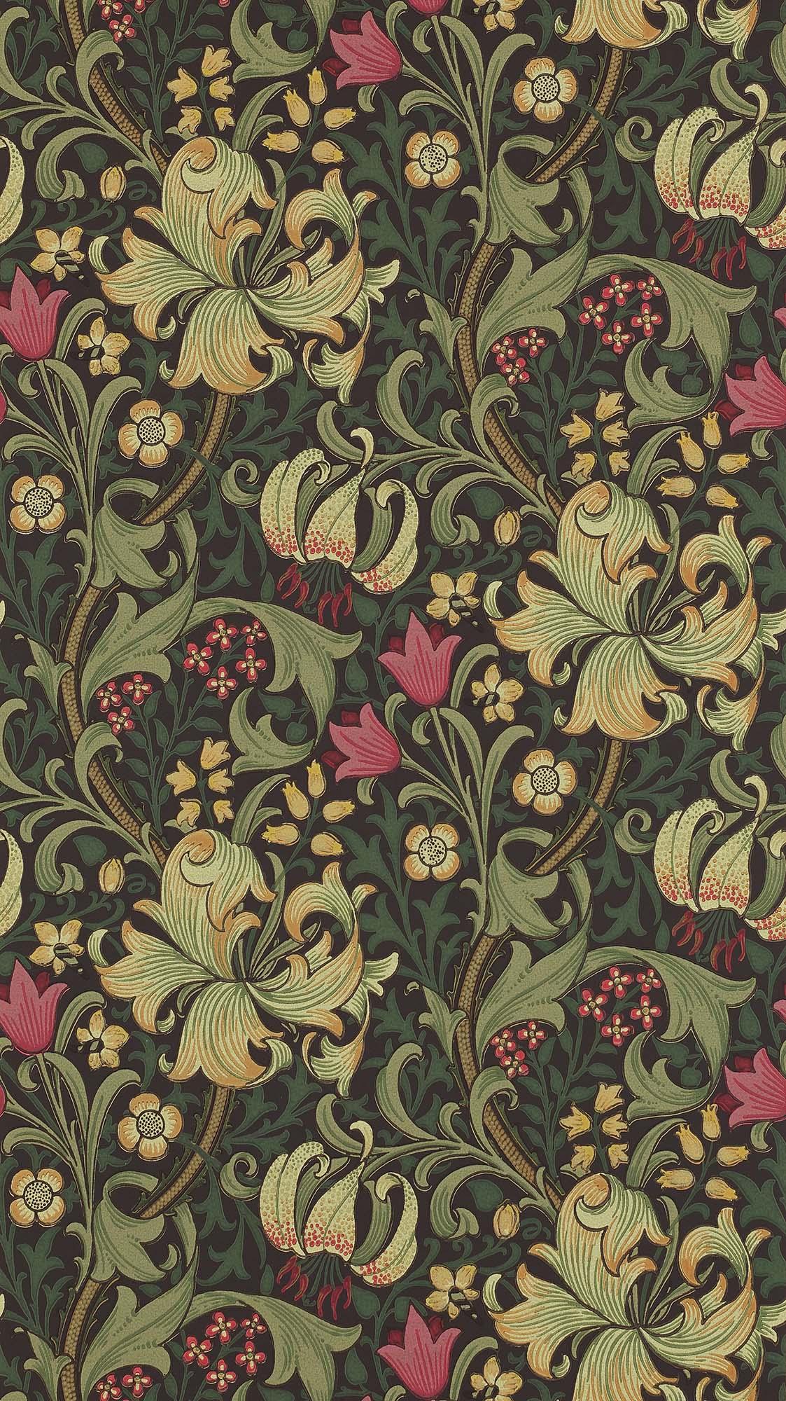 ウィリアムモリス壁紙 Garden Lily 210403